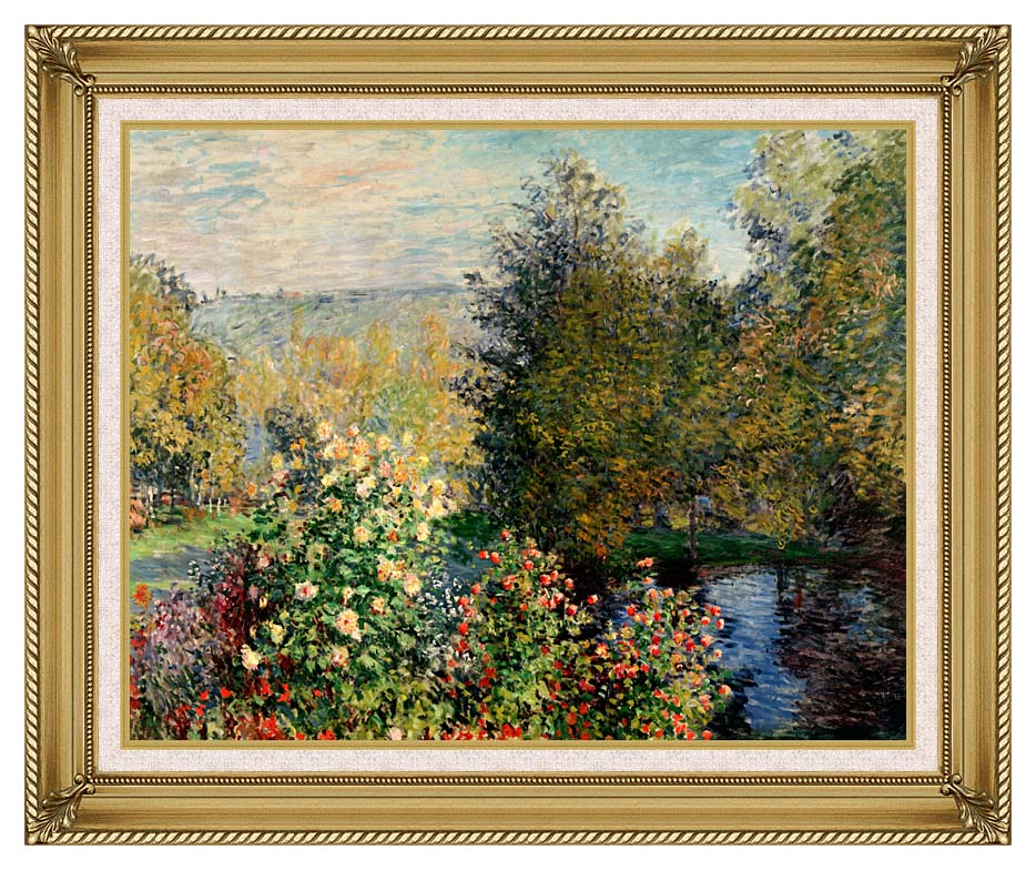 Claude Monet Corner of a Garden at Montgeron with Gallery Gold Frame w/Liner
