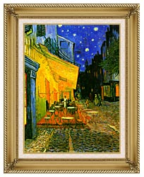 Vincent Van Gogh Cafe Terrace At Night Detail canvas with gallery gold wood frame