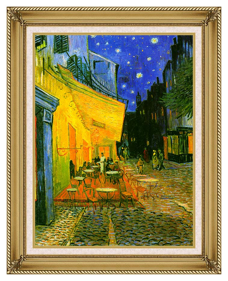 Vincent van Gogh Cafe Terrace at Night (detail) with Gallery Gold Frame w/Liner