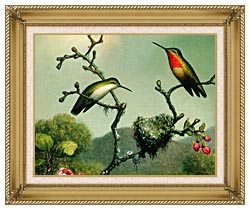 Martin Johnson Heade Ruby Throat Of North America Detail canvas with gallery gold wood frame