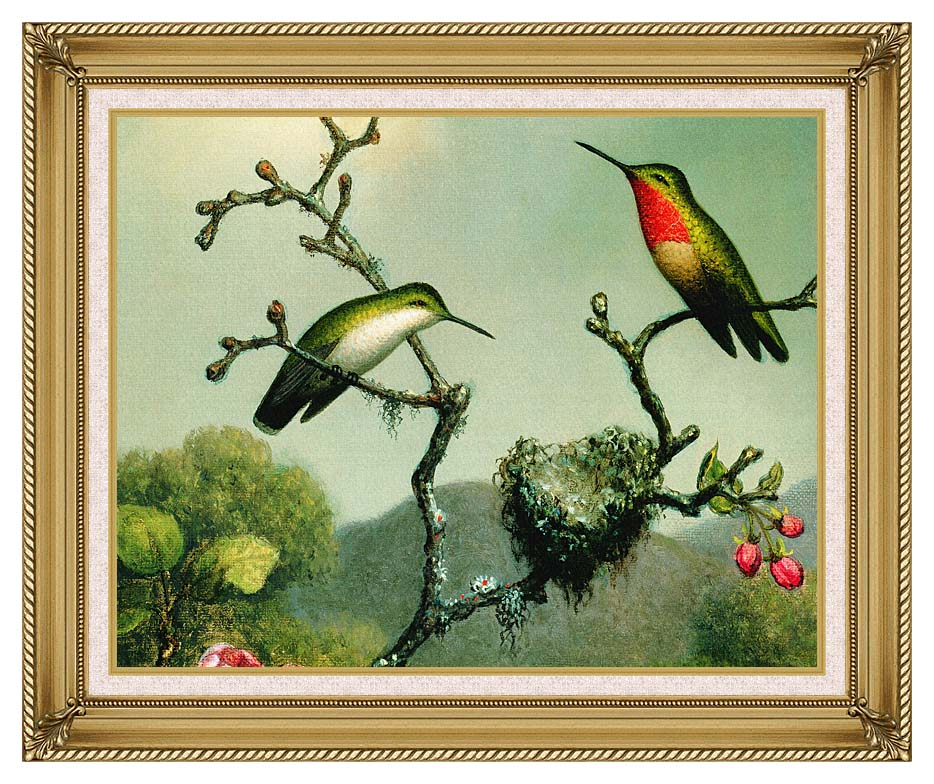 Martin Johnson Heade Ruby Throat of North America (detail) with Gallery Gold Frame w/Liner