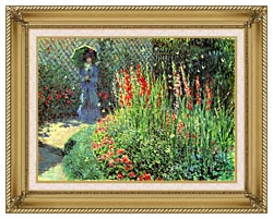 Claude Monet Gladioli canvas with gallery gold wood frame