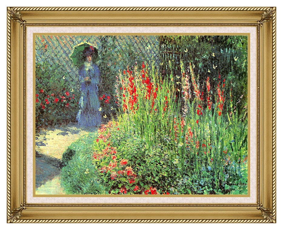 Claude Monet Gladioli with Gallery Gold Frame w/Liner
