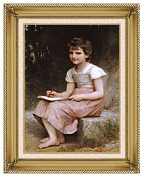 William Bouguereau A Calling canvas with gallery gold wood frame