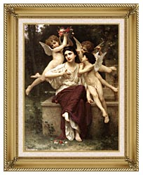 William Bouguereau A Dream Of Spring canvas with gallery gold wood frame
