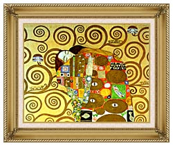 Gustav Klimt Fulfillment Close Up Detail canvas with gallery gold wood frame