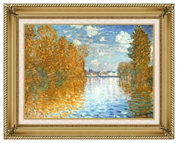 Claude Monet The Seine At Argenteuil Autumn Effect canvas with gallery gold wood frame
