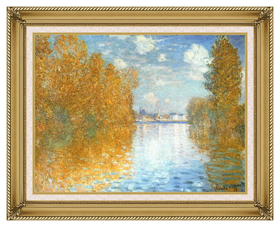 Claude Monet The Seine at Argenteuil, Autumn Effect with Gallery Gold Frame w/Liner