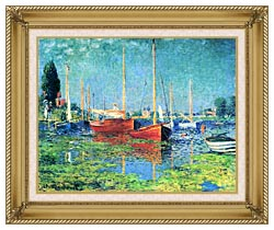 Claude Monet Red Boats Argenteuil canvas with gallery gold wood frame
