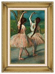 Edgar Degas Dancers In Pink canvas with gallery gold wood frame