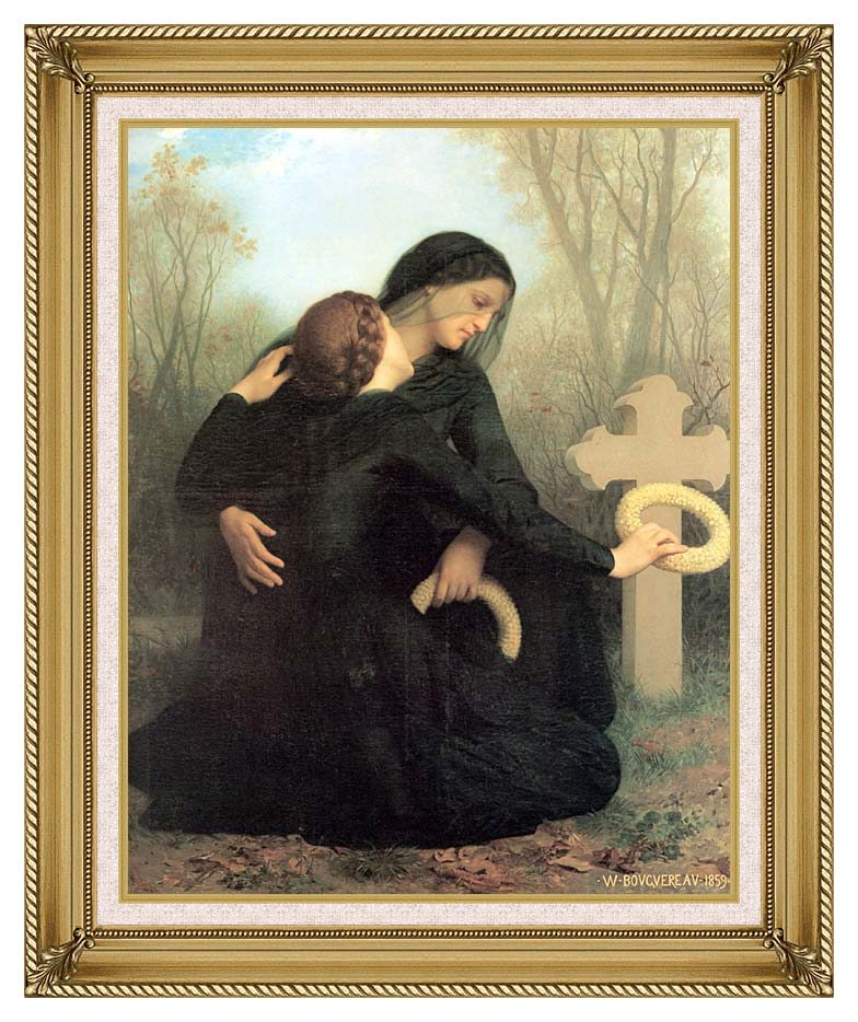 William Bouguereau All Saint's Day with Gallery Gold Frame w/Liner