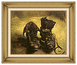 Vincent Van Gogh A Pair Of Shoes 1886 canvas with gallery gold wood frame