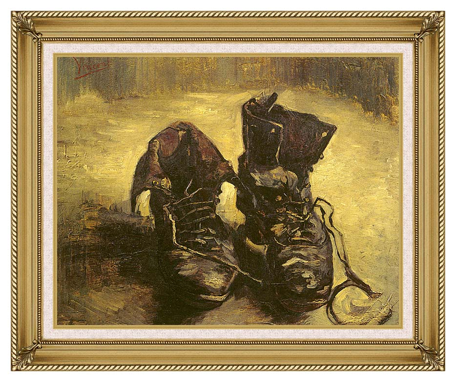 Vincent van Gogh A Pair of Shoes 1886 with Gallery Gold Frame w/Liner