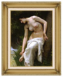 William Bouguereau Woman After The Bath canvas with gallery gold wood frame
