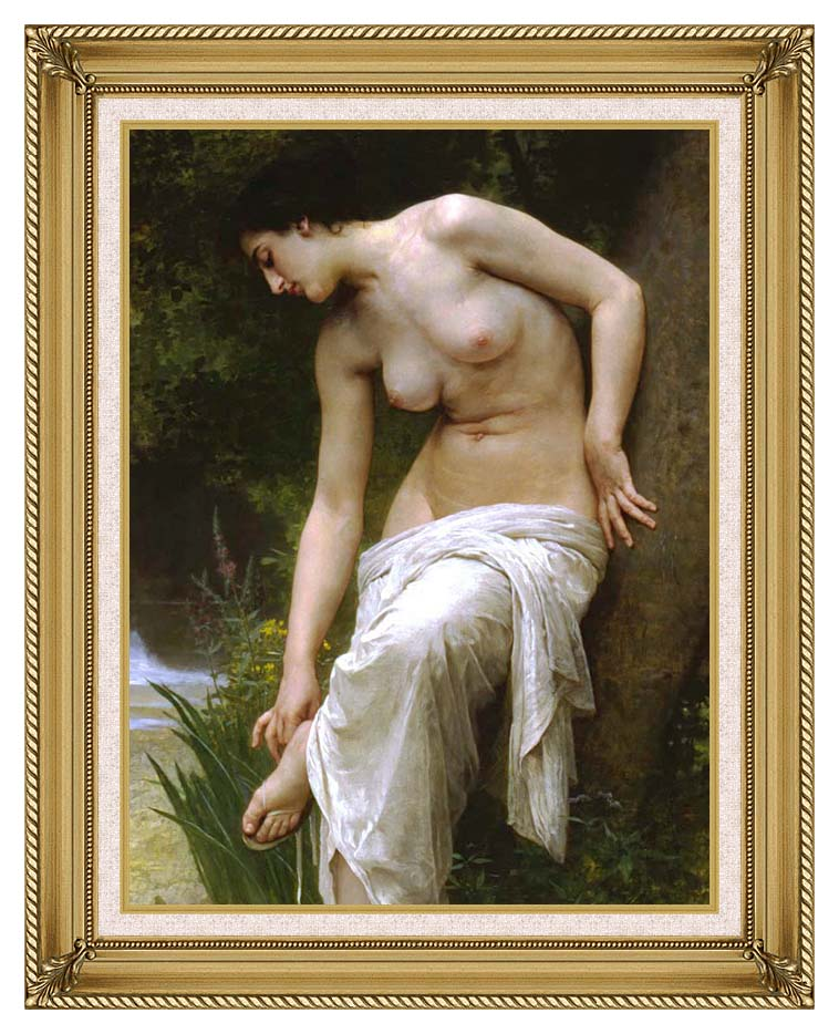 William Bouguereau Woman After the Bath with Gallery Gold Frame w/Liner