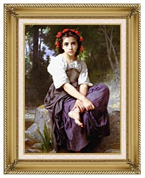 William Bouguereau At The Edge Of The Brook canvas with gallery gold wood frame