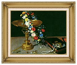Jan Brueghel The Elder Gold Cup With Flower Wreath And Jewel Box Detail canvas with gallery gold wood frame