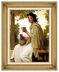 William Bouguereau Bacchante canvas with gallery gold wood frame