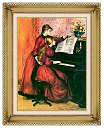Pierre Auguste Renoir The Piano Lesson canvas with gallery gold wood frame