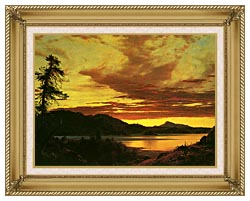 Frederic Edwin Church Sunset Detail canvas with gallery gold wood frame