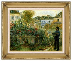 Pierre Auguste Renoir Claude Monet Painting In His Garden At Argenteuil canvas with gallery gold wood frame