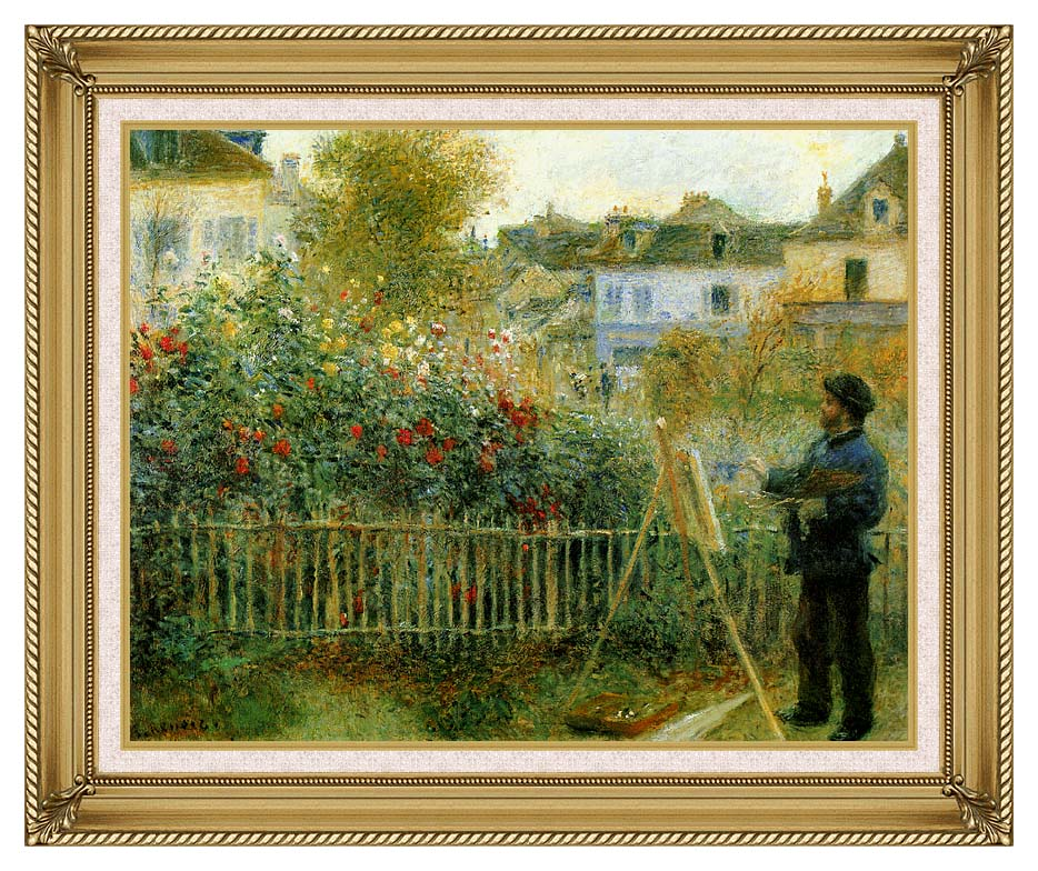 Pierre Auguste Renoir Claude Monet Painting in his Garden at Argenteuil with Gallery Gold Frame w/Liner