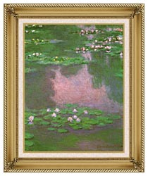 Claude Monet Water Lilies 1905 Portrait Detail canvas with gallery gold wood frame