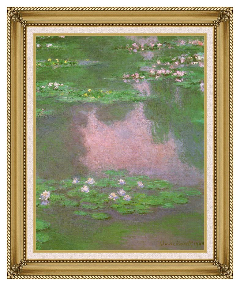 Claude Monet Water-Lilies 1905 (portrait detail) with Gallery Gold Frame w/Liner