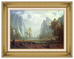 Albert Bierstadt Looking Up The Yosemite Valley Detail canvas with gallery gold wood frame