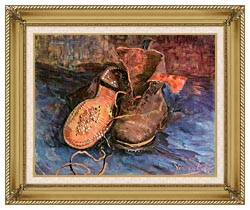 Vincent Van Gogh A Pair Of Shoes canvas with gallery gold wood frame