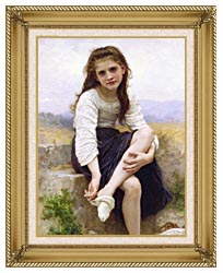 William Bouguereau Before The Bath canvas with gallery gold wood frame