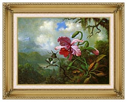 Martin Johnson Heade Orchid And Hummingbirds Near A Mountain Lake canvas with gallery gold wood frame