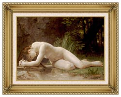 William Bouguereau Biblis canvas with gallery gold wood frame