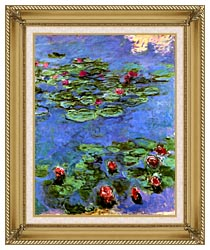 Claude Monet Water Lilies 1914 canvas with gallery gold wood frame