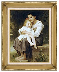 William Bouguereau Big Sister canvas with gallery gold wood frame