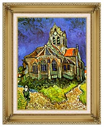 Vincent Van Gogh The Church At Auvers canvas with gallery gold wood frame