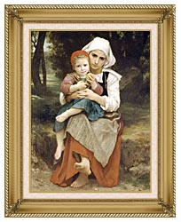 William Bouguereau Breton Brother And Sister canvas with gallery gold wood frame