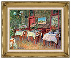 Vincent Van Gogh Interior Of A Restaurant canvas with gallery gold wood frame