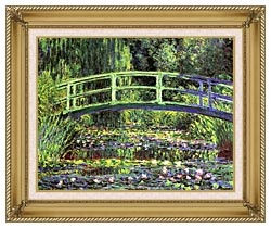 Claude Monet Water Lilies And Japanese Bridge canvas with gallery gold wood frame