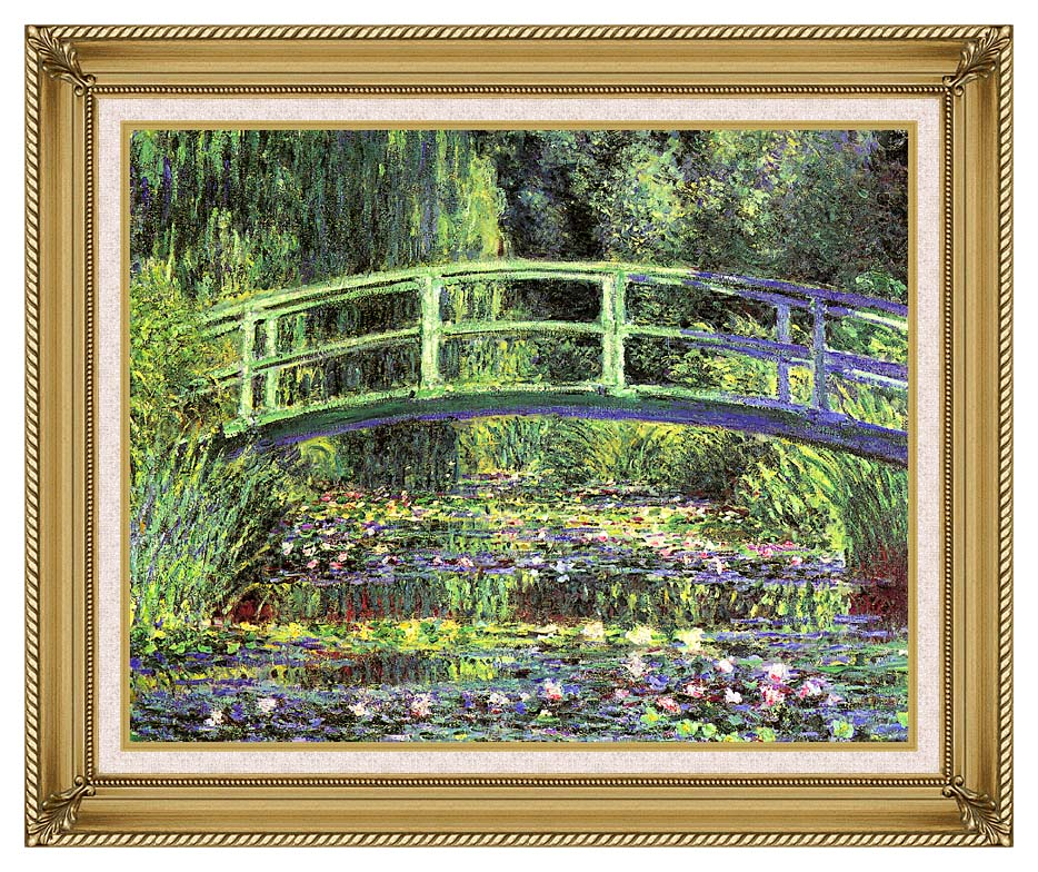 Claude Monet Water Lilies and Japanese Bridge with Gallery Gold Frame w/Liner