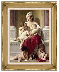 William Bouguereau Charity canvas with gallery gold wood frame