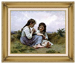 William Bouguereau Childhood Idyll canvas with gallery gold wood frame