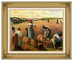Camille Pissarro The Gleaners canvas with gallery gold wood frame
