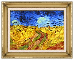 Vincent Van Gogh Wheat Field With Crows Detail canvas with gallery gold wood frame