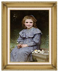 William Bouguereau Daisies canvas with gallery gold wood frame