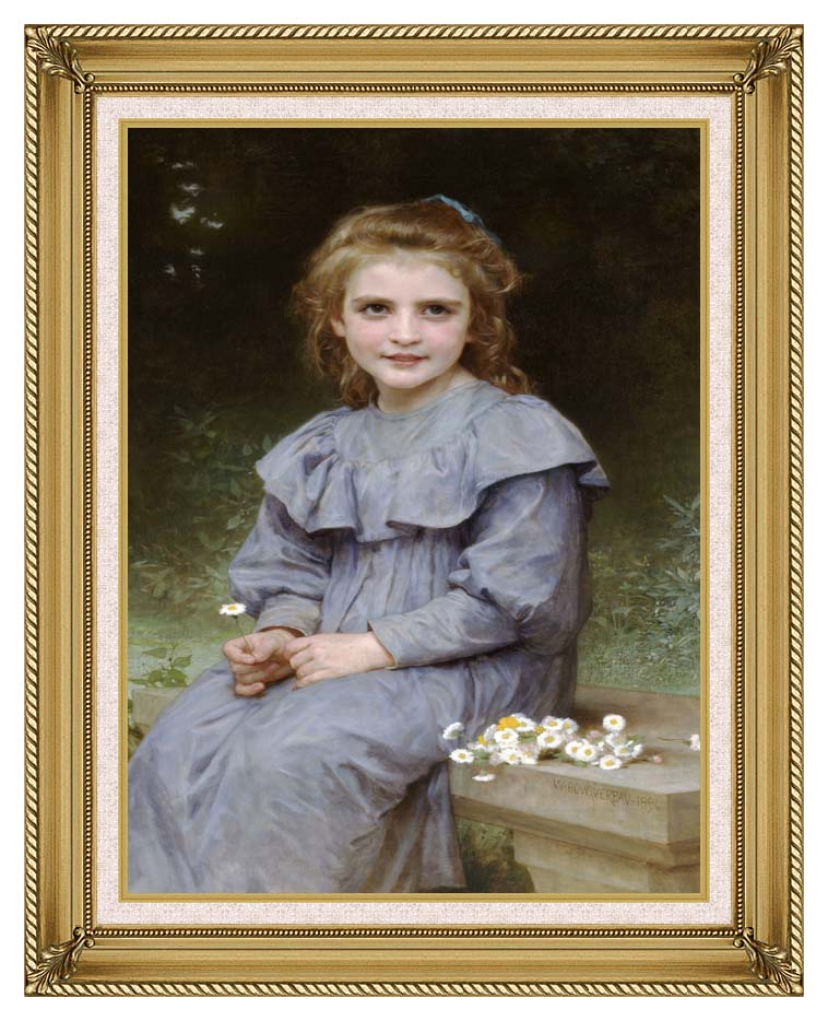 William Bouguereau Daisies with Gallery Gold Frame w/Liner