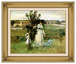 Berthe Morisot Hide And Seek canvas with gallery gold wood frame