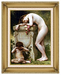 William Bouguereau Elegy canvas with gallery gold wood frame
