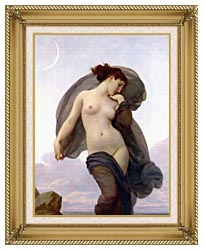 William Bouguereau Evening Mood canvas with gallery gold wood frame