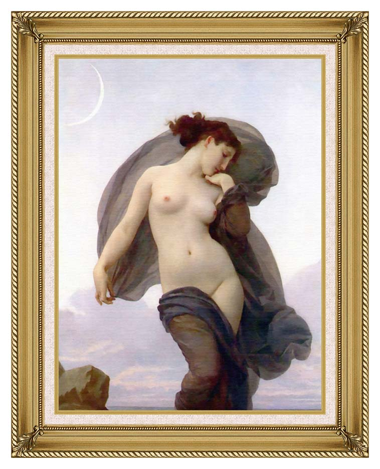 William Bouguereau Evening Mood with Gallery Gold Frame w/Liner